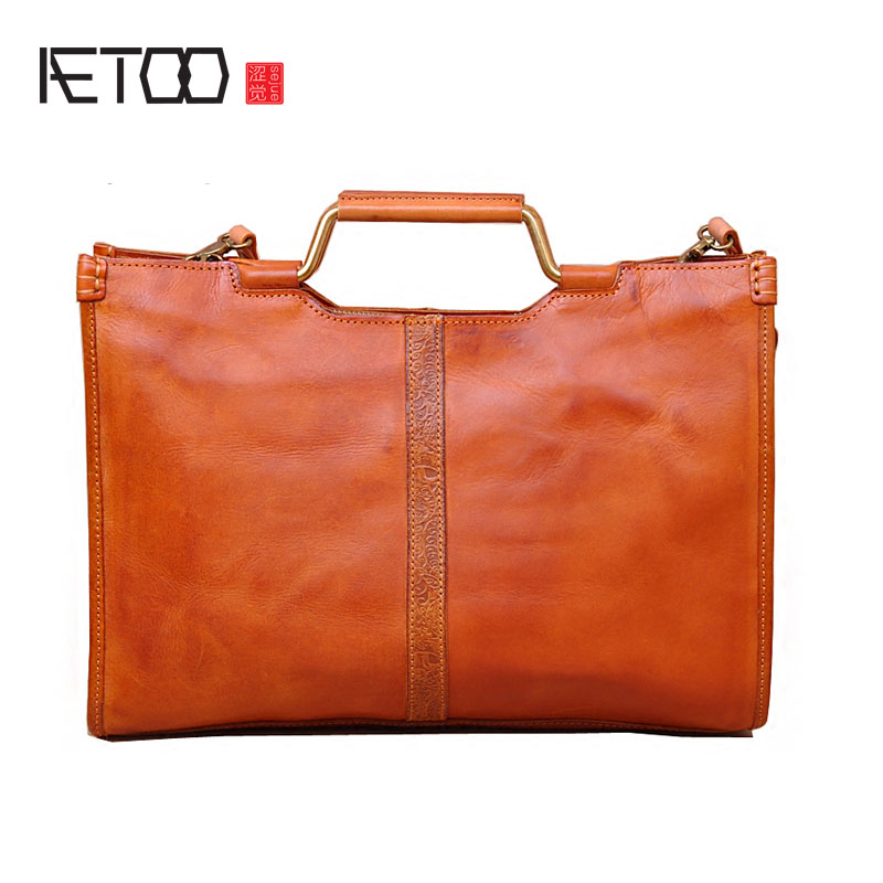 AETOO Female bag rectangular cross section simple retro pattern leather leather tanned leather shoulder bag head layer leather aetoo men s casual handbag cross section leather hand first layer of leather diagonal cross bag retro shoulder bag computer bag