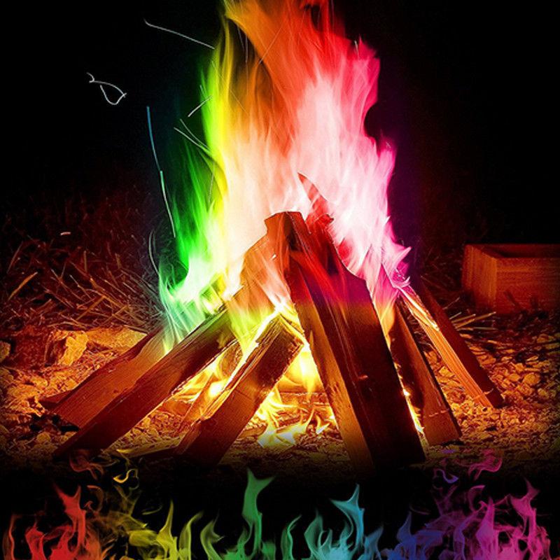 10g/15g/25g Magic Fire Colorful Flames Powder Outdoor Camping Bonfire Sachets Magical Tricks Magicians Pyrotechnics Toys Tool