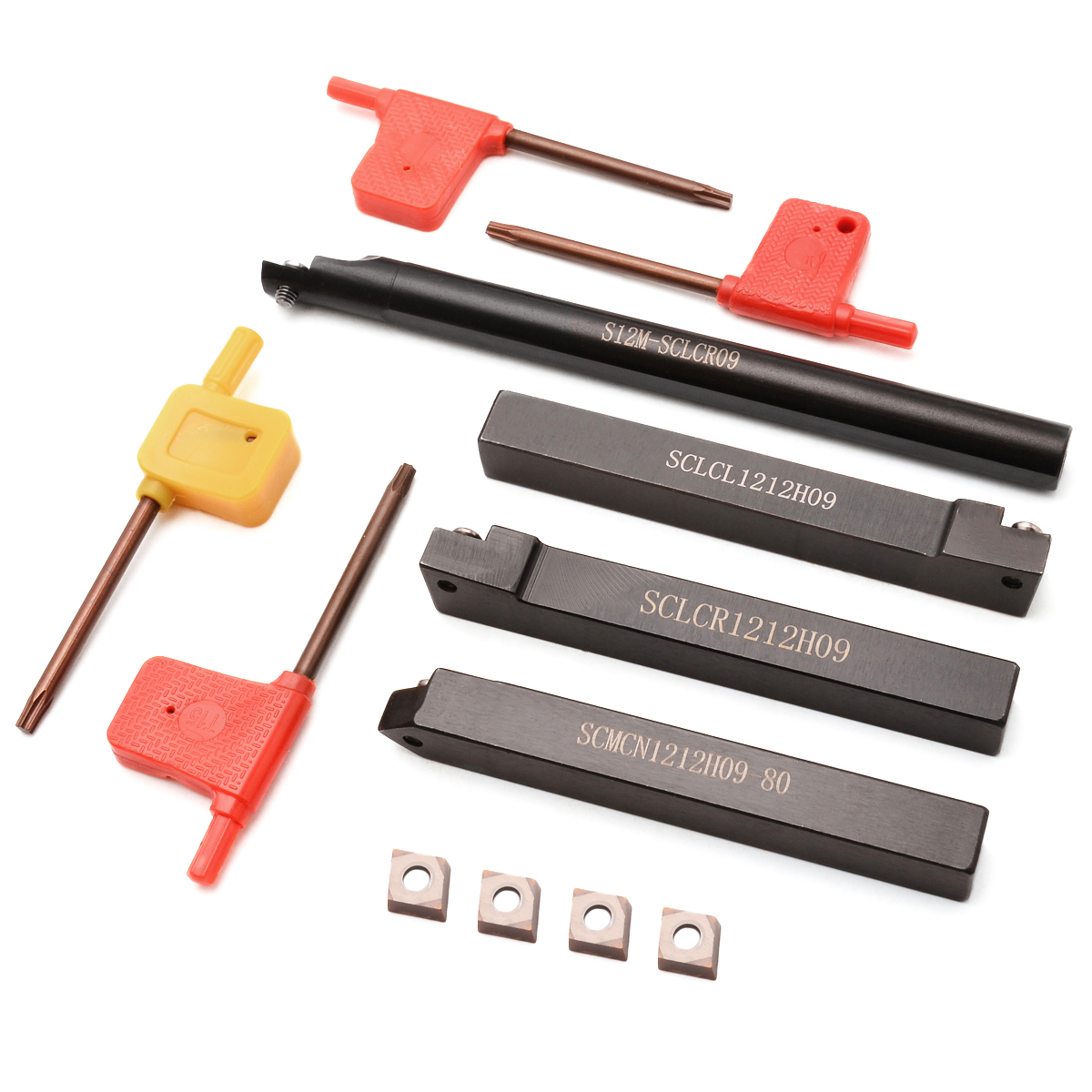 4pcs CCMT 09T3 Carbide Inserts Blades + 4pcs Straight Shank Lathe Index Boring Bar Turning Tool Holder + 4pcs Wrenches 4pcs 12mm boring bar tool holder 10pcs dcmt070204 carbide insert with 4pcs wrench mayitr for lathe turning tools