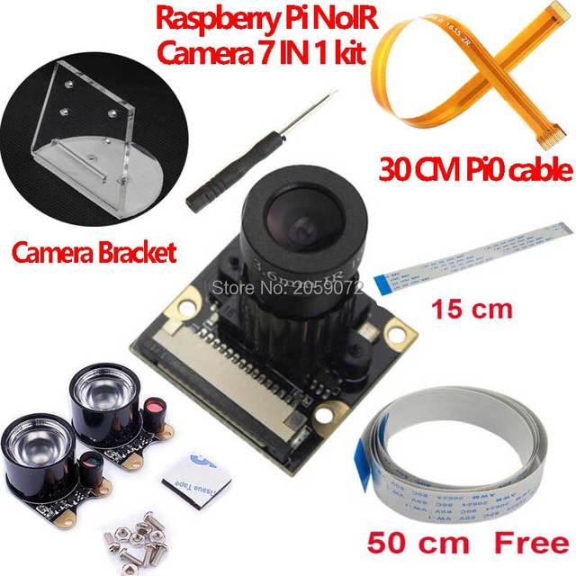 Raspberry Pi caméra focale, Vision nocturne à infrarouge, réglable, Noir, Module de caméra pour Raspberry Pi 3 modèle B 4B zero w support 7 en 1