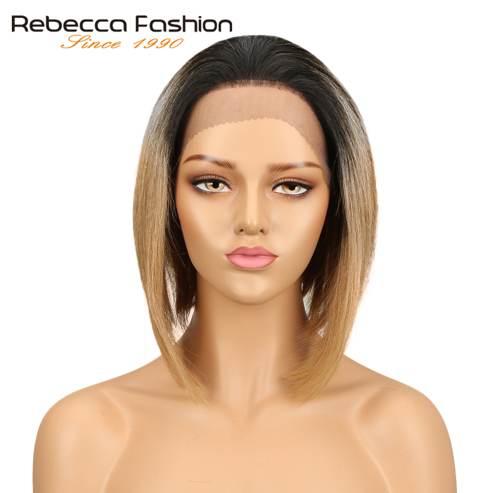 Rebecca Brazilian 4x4 Lace Front Human Hair Wigs For Women Remy Straight Hair Short Bob Wig Blonde Brown Colors Free Shipping
