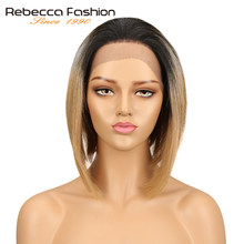 Rebecca Brazilian 4x4 Lace Front Human Hair Wigs For Women Remy Straight Hair Short Bob Wig Blonde Brown Colors Free Shipping(China)