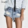 Simplee apparel 50's vintage rasgado buraco franja azul bolso denim shorts mulheres casual shorts jeans 2016 verão shorts menina quente
