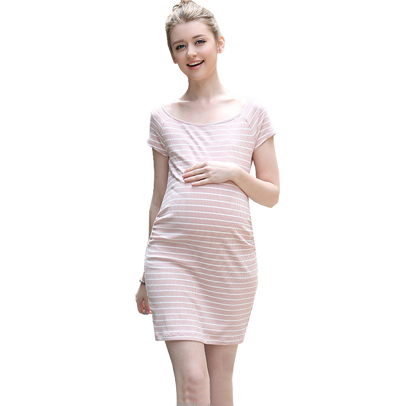 Summer Short Sleeve Knitted Dress Maternity Clothes For Pregnant Women Striped Pregnancy Dress Vestidos Gravida Materniy Dress