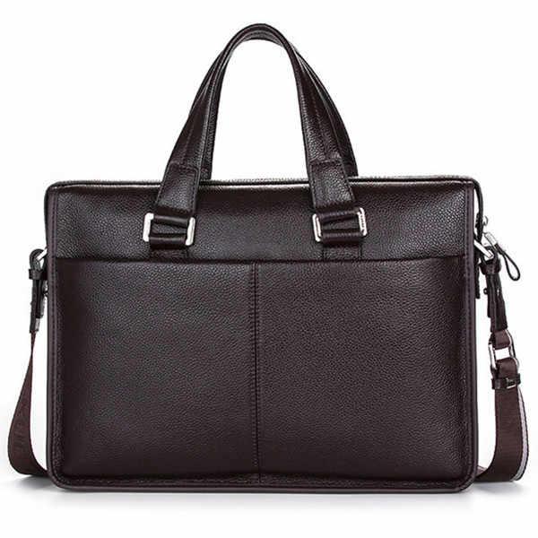 "Guarantee Natural Cow Leather Brand men handbags men's shoulder messenger bags 15.6"" Inch Laptop Bag Genuine Leather Briefcase"