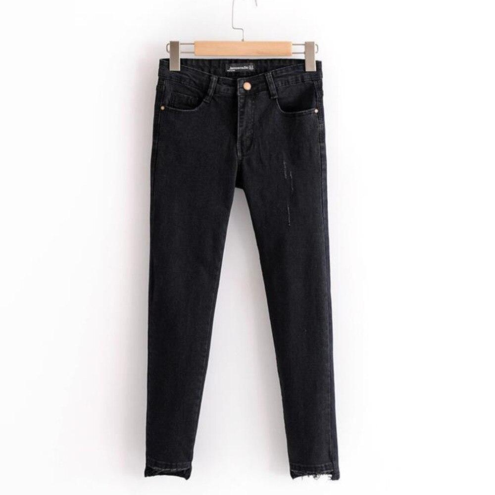 Jeans 2018 Autumn Women Clothing ZA New Arrival Feet Irregular Black Wild Nine Pants Women