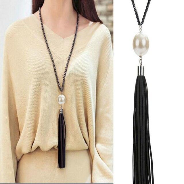 Мода черный ожерелье длинная цепь шарм бусины кожи кисточкой свитер цепи для женщин ювелирные изделия