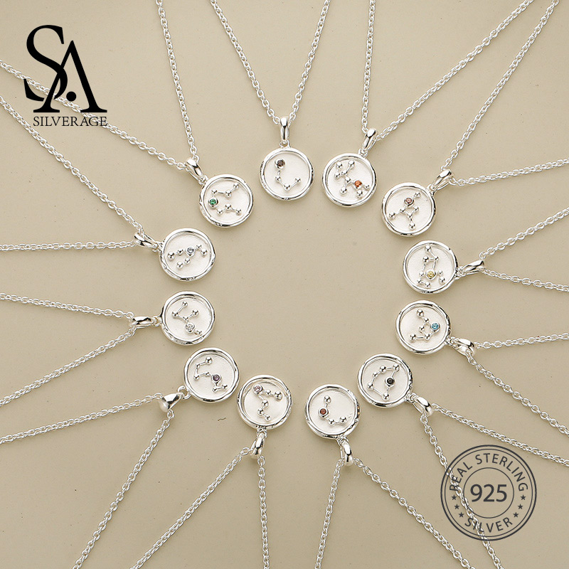 SA SILVERAGE 2018 Women Twelve Constellations Choker Pendants Necklaces Personality Fashion Trend Lettering Chain Necklaces lacywear dg 207 spl