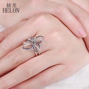 Image 4 - HELON 6.5mm okrągły Cut stałe 10 K białe złoto 0.6ct naturalny szafir i diamenty Semi Mount pierścionek zaręczynowy ślub biżuteria z kamieni szlachetnych