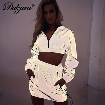 Dulzura פלאש רעיוני רוכסן ארוך שרוול נים סוודר סלעית יבול למעלה גבוהה מותן מיני חצאית נשים 2 חתיכה להגדיר 2018