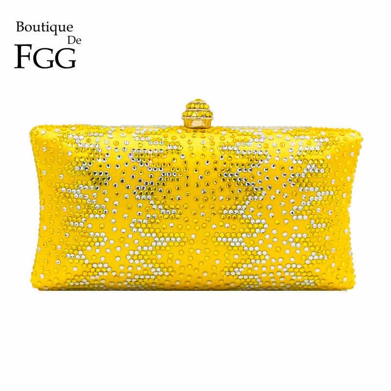 Boutique De FGG Yellow Women Crystal Purse Metal Evening Minaudiere Bags  Bridal Wedding Handbag Party Prom 9a820e99c62b
