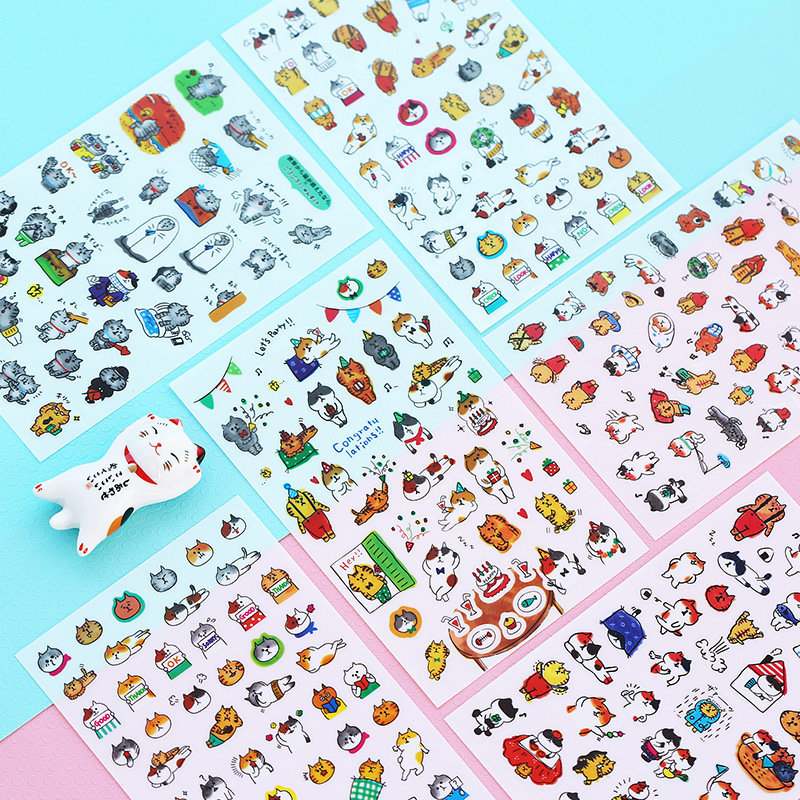 6 Pcs/pack The Cat Of Daily Stickers Scrapbooking Album Diary Stick Label Decor Stationery Stickers