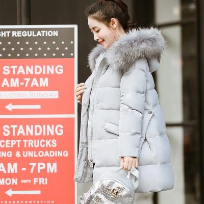 KMETRAM модная зимняя куртка из хлопка женская элегантная трапециевидный плащ парка Толстая стеганая средней длины Женское пальто HH456 - Цвет: light gray