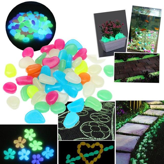 50pcs Glow In The Dark Artificial Luminous Pebbles Stone Aquarium Fish Tank Decoration Accessories