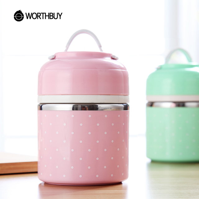 WOTHBUY Portable Cute Mini Japanese Bento Box Leak-Proof Stainless Steel Thermal Lunch Boxs Kids Picnic Food Storage Container