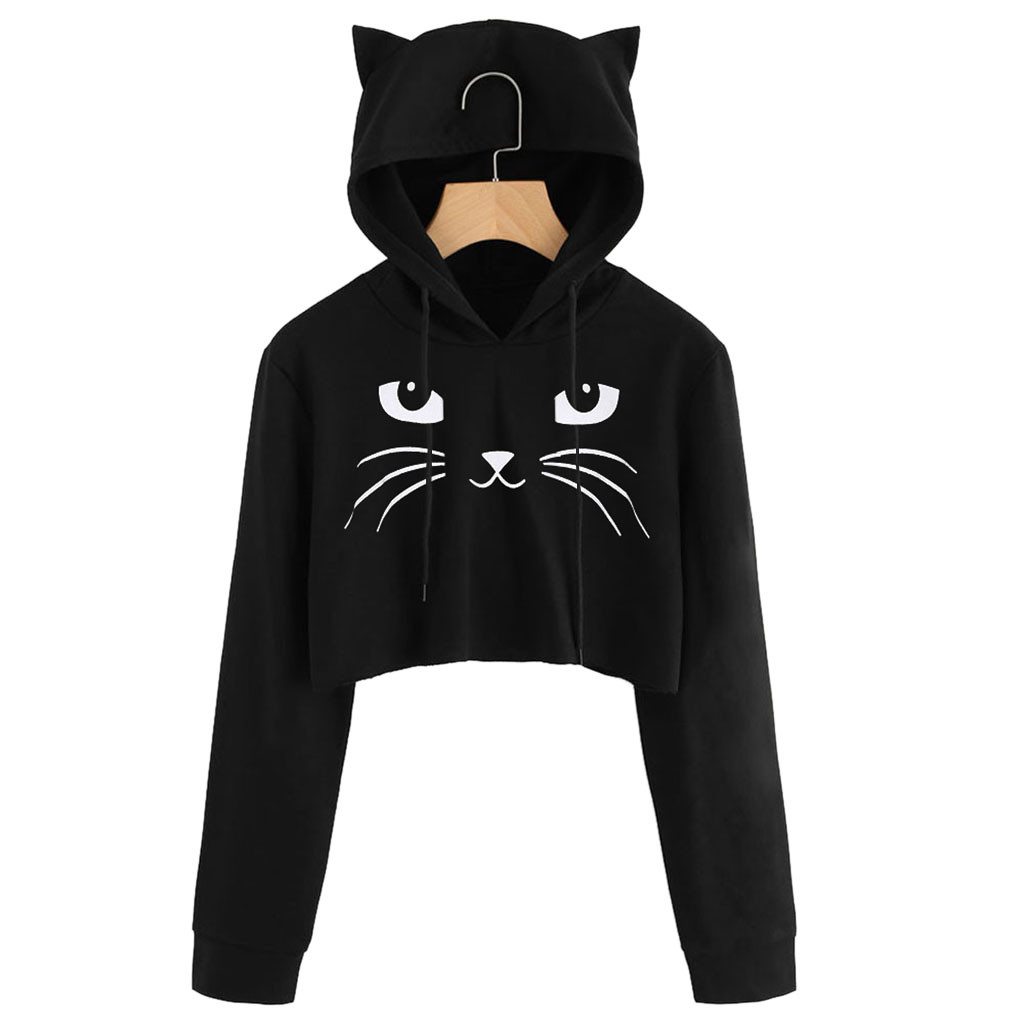 Womens Cat Ear Hoodies Sweatshirt Ladies Long Sleeve Cropped Hooded Sweatshirts Hooded Pullover Tops sudadera mujer 2020 New