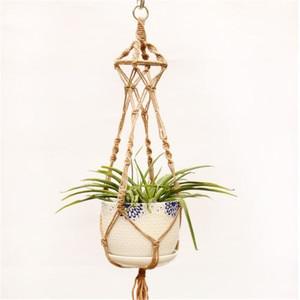 Image 5 - Straw Macrame Plant Hanger Flower Pot Garden Holder Legs Hanging Rope Basket Household Garden Decoration Dropshipping