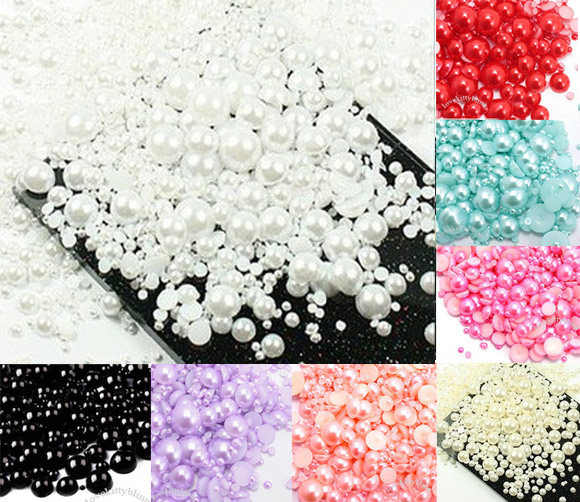LF 500Pcs Mixed 2 10mm White Haft Round Pearl Beads Crafts ...