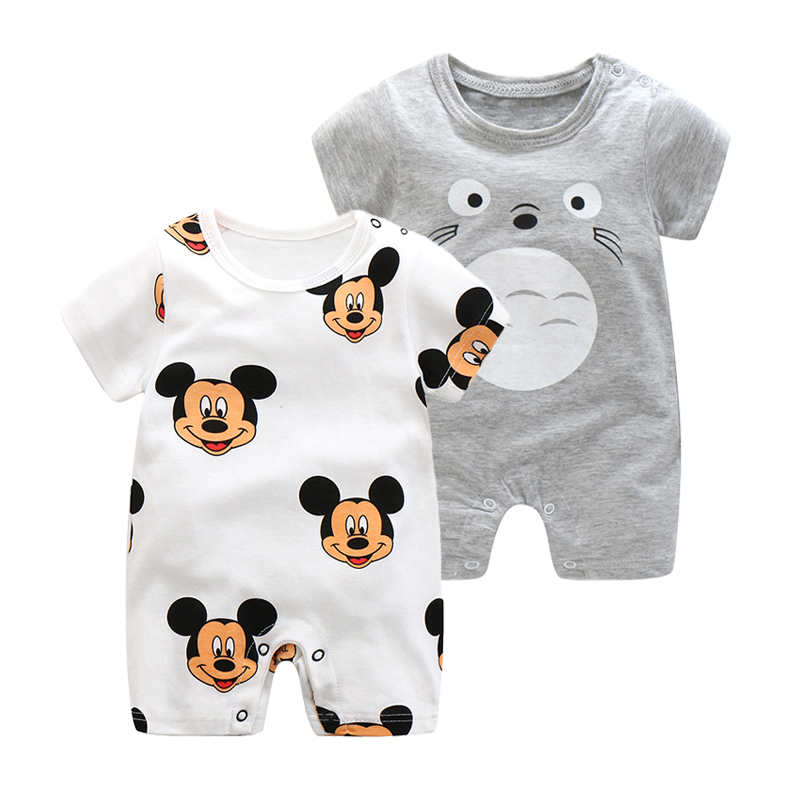 2019 Summer New Style Short Sleeved Girls Dress Baby Romper Cotton Newborn Body Suit Baby Pajama Boys Animal Monkey Rompers(China)