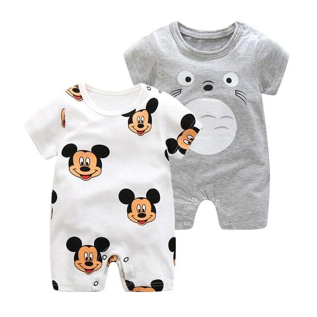 2019 קיץ סגנון חדש קצר שרוולים בנות שמלת תינוק Romper כותנה יילוד גוף חליפת תינוק פיג בעלי החיים קוף Rompers