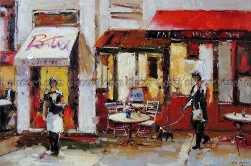 Aliexpress.com : Buy 100% hand painted Sidewalk Cafe Paris
