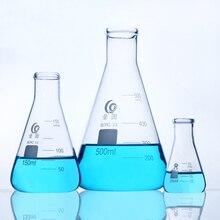 Стеклянная треугольная фляга, Лаборатория по химии, коническая колба, утолщенное высокоборосиликатное стекло, высокотемпературное лабораторное оборудование