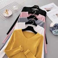Herbst Pullover Frauen V Neck Pullover Strick Jumper Frauen Pullover 2019 Winter Tops Für Frauen Pullover Und Pullover Trui Dames