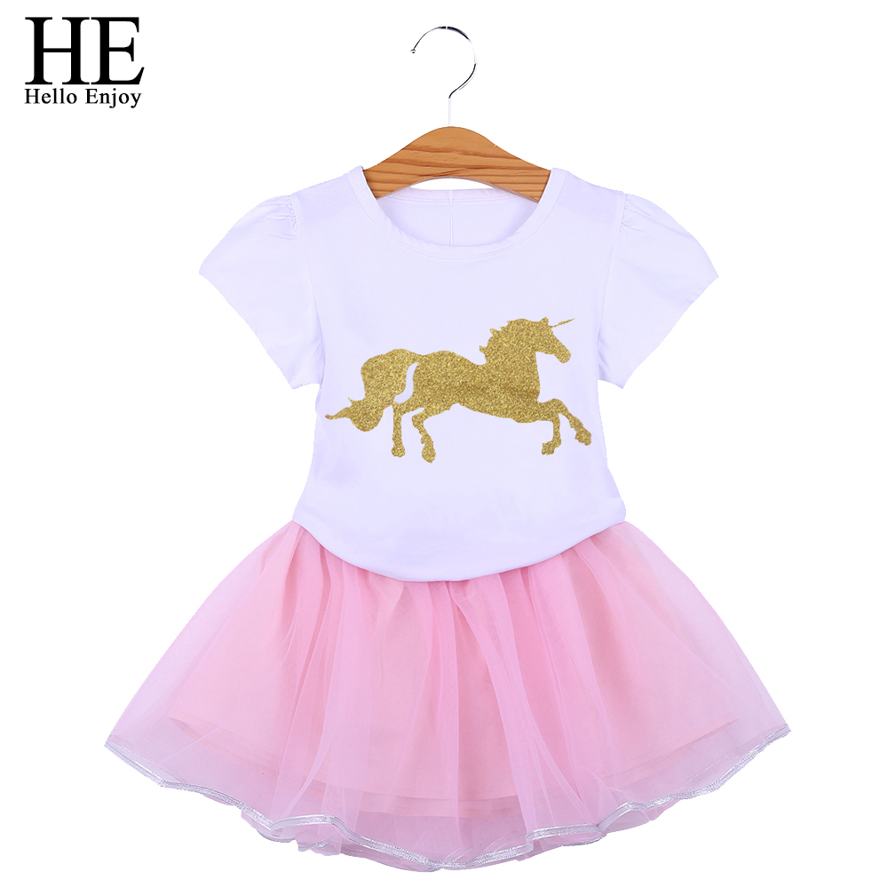 HE Hello Enjoy Boutique Kids Clothing Girls Tutu Skirt Tracksuits Costume Cartoon Unicorn Short Top 2PCS Clothes Sets Outfits