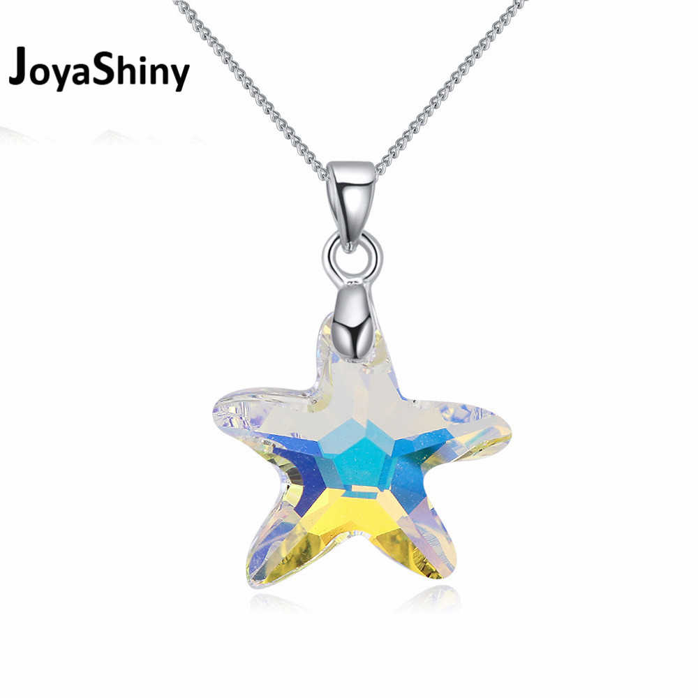 Joyashiny Crystals from Swarovski-Element Starfish Pendant Necklace Rhodium Plated Chain Collares For Women Jewelry 4 Colors