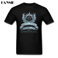 Men Tshirts High Quality 100 Cotton Short Sleeve T Shirts Male TV Series Supernatural Teenage Tops