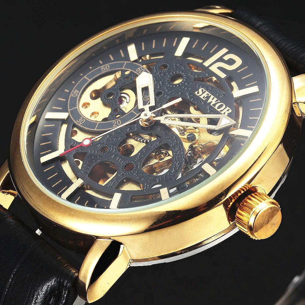 Mechanical Watches Adaptable Sewor New Fashion Skeleton Watches Men Male Business Clock Leather Strap Cool Army Mechanical Automatic Dress Gold Watch Gift Nourishing The Kidneys Relieving Rheumatism