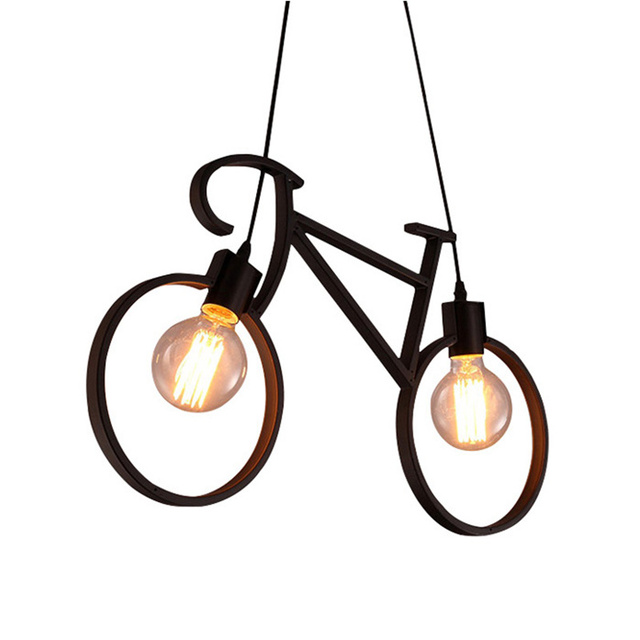 KINLAMS Vintage Bicycle Shape Chandeliers LOFT White Black Hanging Light Modern Lamp For Living Room Bedroom