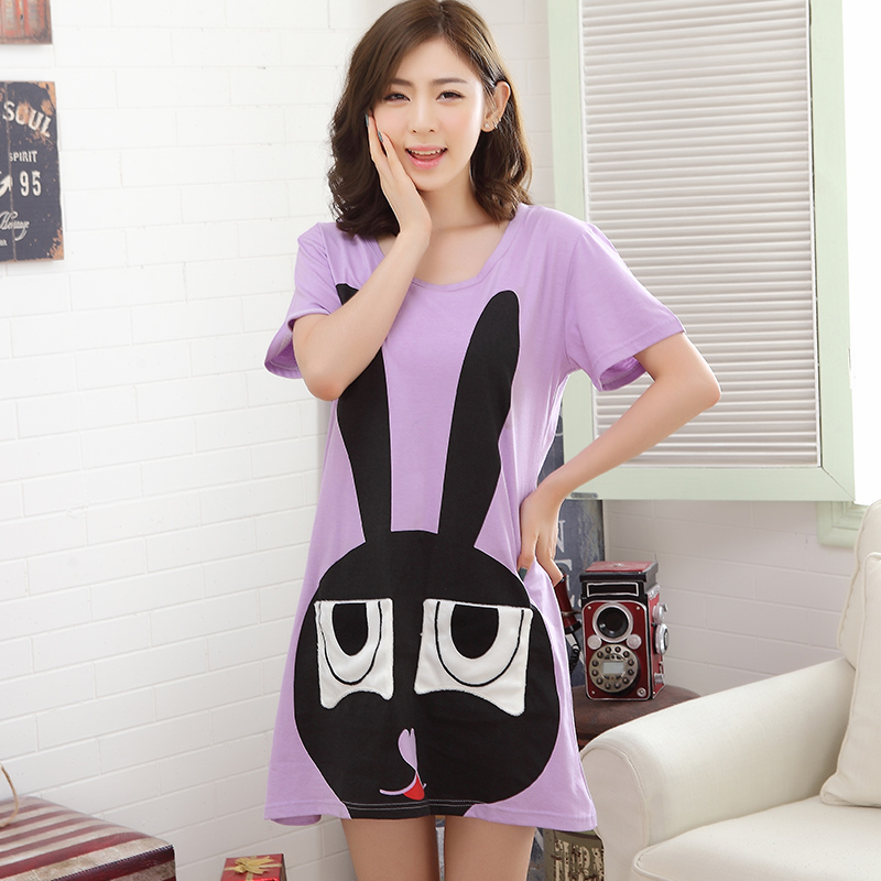 2017 Summer Dresses Women's   Nightgowns  &  Sleepshirts   Cartoon Rabbit Nightdress Girl Sleepwear Femme Pyjamas Women Lounge Homewear