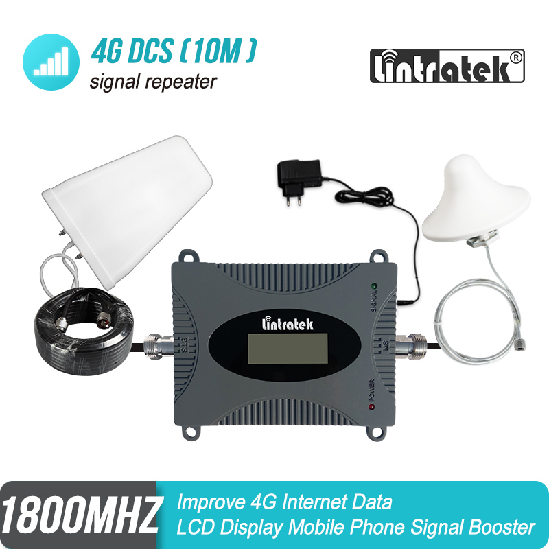 Lintratek MINI 4G 1800MHz Cellular Signal Booster B3 LTE GSM DCS 1800 Repeater Amplifier LPD Antenna+Ceiling Antenna+10m Kit#8-1