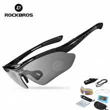 цена RockBros Cycling Glasses Outdoor Sports Polarized Bicycle Sunglasses Bike Glasses  Goggles Eyewear 5 Lens Bicycle Accessories