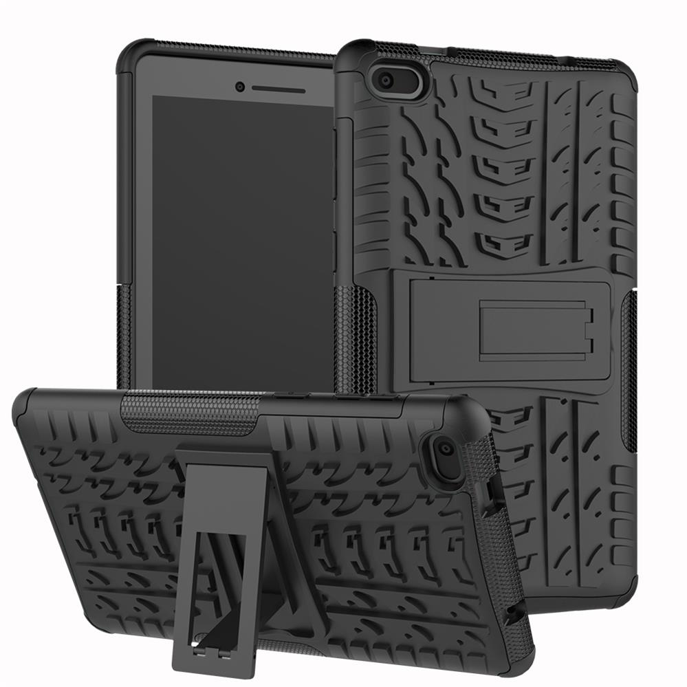 XSKEMP Tablet Case For Lenovo Tab <font><b>4</b></font> <font><b>10</b></font>.0 TB-X304F/N Heavy Duty 2 in <font><b>1</b></font> Armor Hybrid Kickstand TPU + PC Tire Patterned Cover Skin image