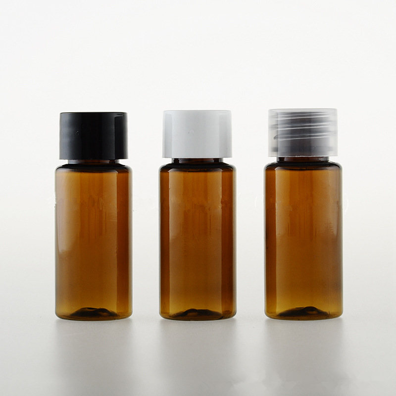 50pcs/lot 15ml Cosmetic Packaging Bottle With Screw Cap & Plug Amber PET Bottle Brown Color Bottle Flat Shoulder Plastic Bottle