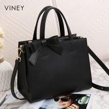Viney Handbag Female 2019 New Red Small Black Bag Simple Leather Tide Leisure One Shoulder Slant Bag