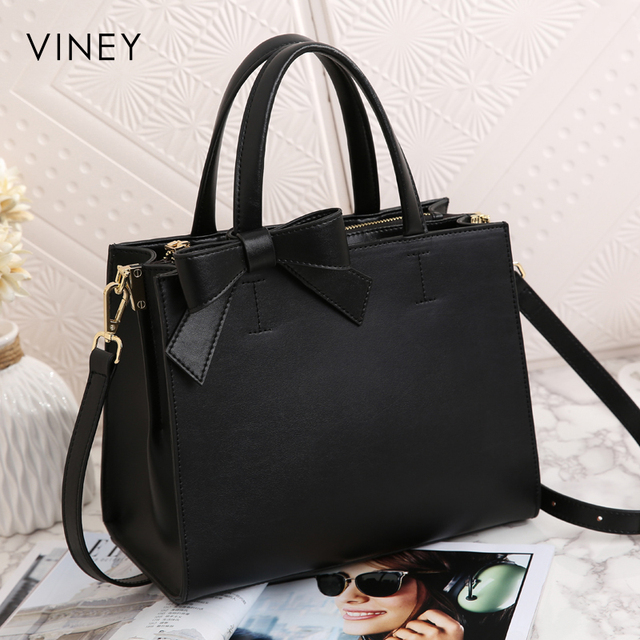 Viney Handbag Female 2019 New Red Small Black Bag Simple Leather Tide Leisure One Shoulder Slant Bag