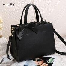 Женская сумка на одно плечо Viney, красная и черная простая кожаная сумка для отдыха, 2019