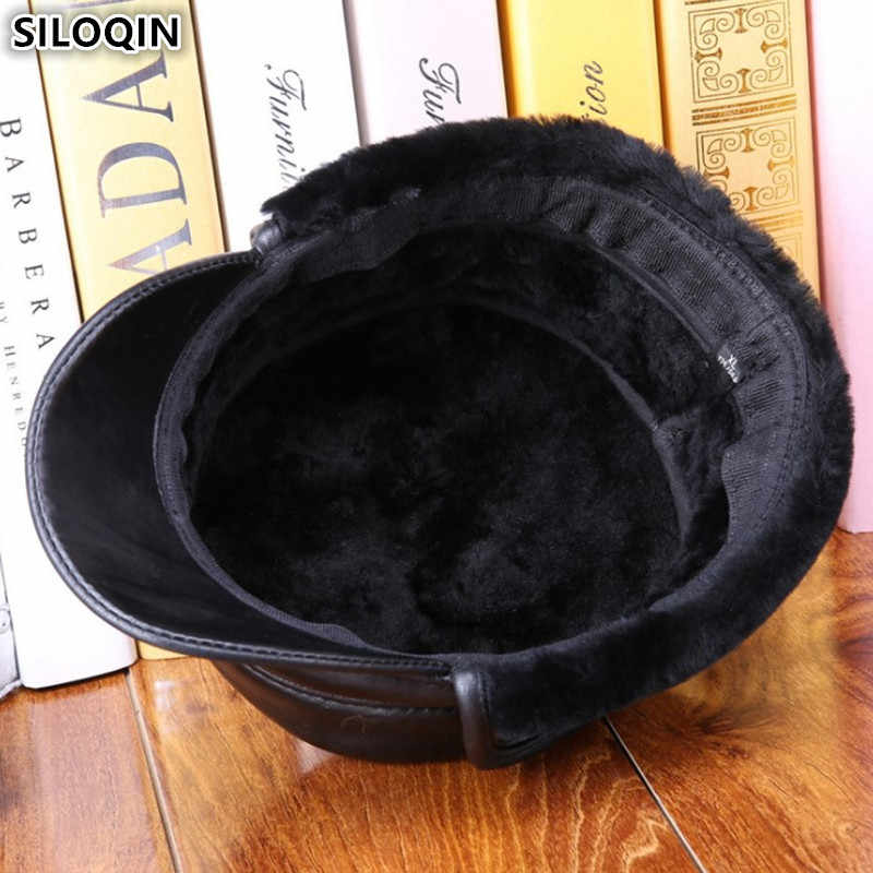 SILOQIN Sheepskin Leather Flat Caps For Men Winter Warm Thick Army Military Hats With Earmuffs New Men's Genuine Leather Ski Cap