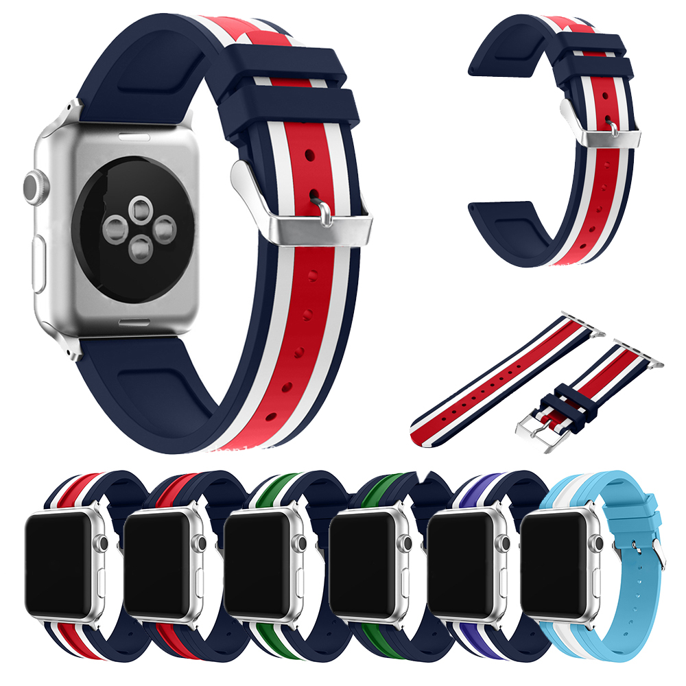Nvpone Sport Silicone Smart Watch Strap For Apple Band 42mm 38mm Rubber Wrist Bracelet Watchband Iwatch Series 1 2 3 In Accessories From