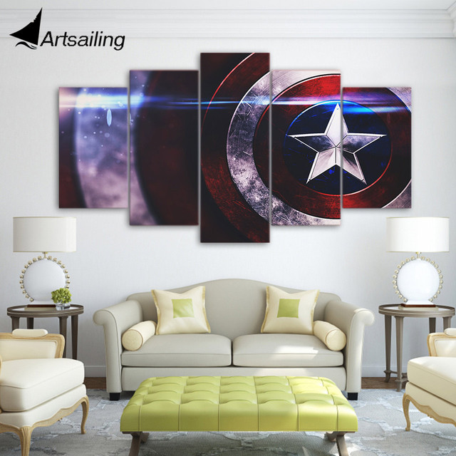 5 Pieces Canvas Paintings Printed Captain America Comics Wall Art
