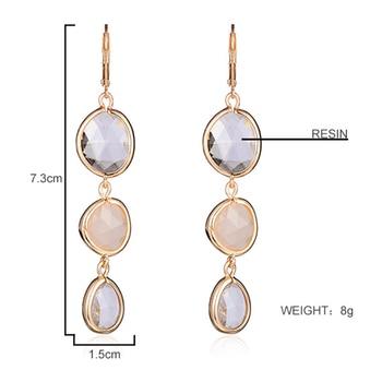 Resin Water Drop Long Earrings For Women Girls Gold Color Alloy Female Dangle Hanging Earring Fashion Ear Jewelry Brincos 2020 1