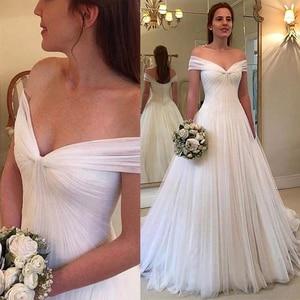 Image 1 - Elegant Tulle Off the shoulder Neckline A line Wedding Dresses With Pleats Tulle Bridal Dress vestido de noiva sereia