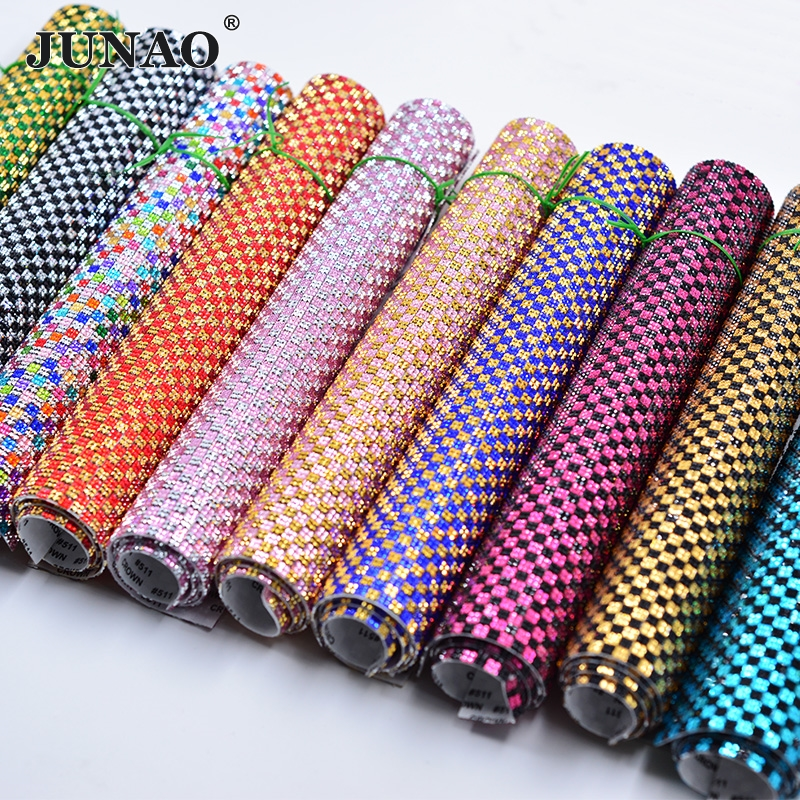 JUNAO 24*40cm Self Adhesive Rhinestones Fabric Mesh Trim Resin Crystal Stickers Strass Appliques Band For DIY Jewelry Crafts