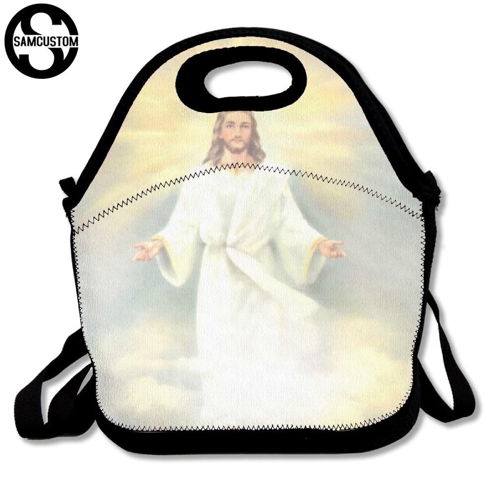 SAMCUSTOM 3D Print jesus christianity Lunch Bags Insulated Waterproof Food Girl Packages men and women Kids Babys Boys Handbags
