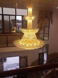 Złoty pent piętro domu piętro domu żyrandol do salonu kryształowy żyrandol w dużej willi Minister schody żyrandol