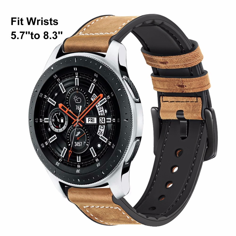 Image 2 - TRUMiRR Genuine Leather & Silicone Rubber Band +Screen Protectors for Samsung Galaxy Watch 46mm 42mm Watchband Steel Clasp Strap-in Watchbands from Watches