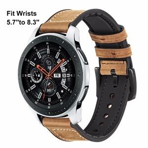 Image 2 - TRUMiRR prawdziwej skóry i z gumy silikonowej zespół + ekrany ochronne do zegarka Samsung Galaxy 46mm 42mm pasek do zegarków stal zapięcie pasek
